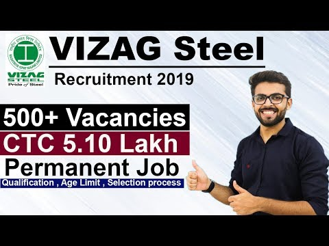 Vizag Steel Recruitment 2019 | CTC 5.10 Lakh | 500+ Vacancies | Permanent JOB | Latest Jobs 2019