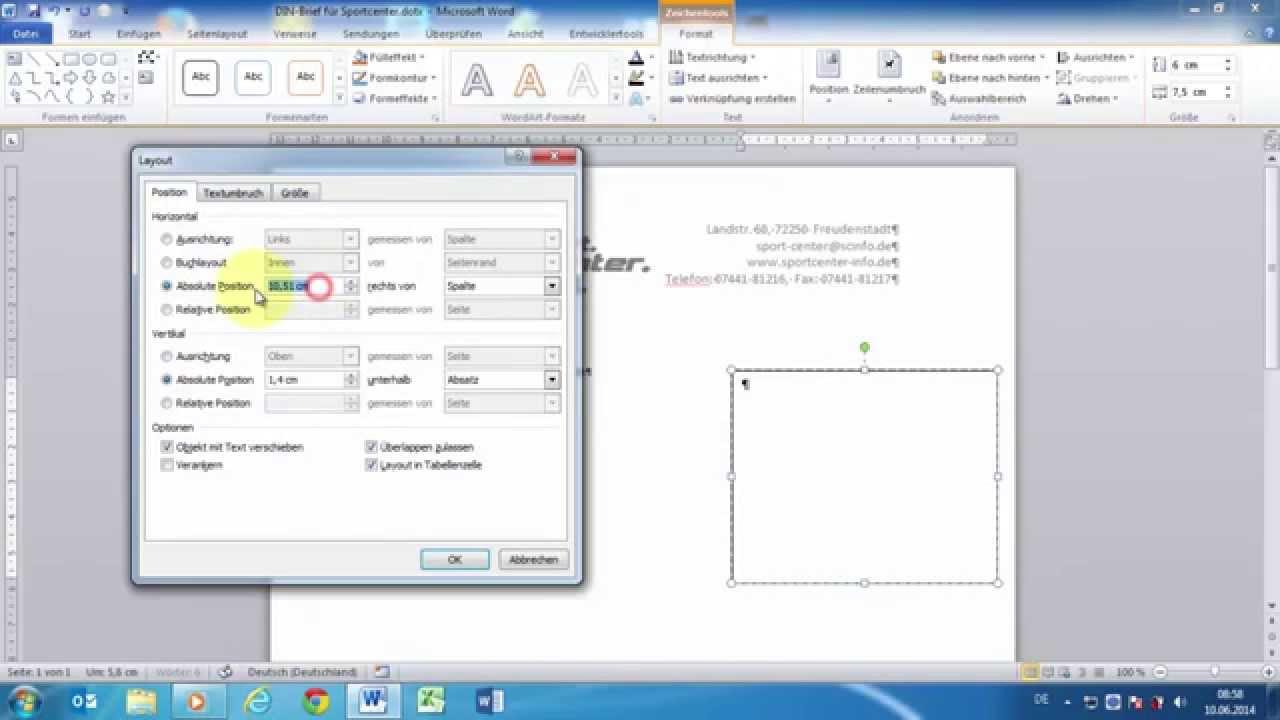 Word 2010 Geschäftliche Private Din Briefe 5008 Erstellen Teil 3