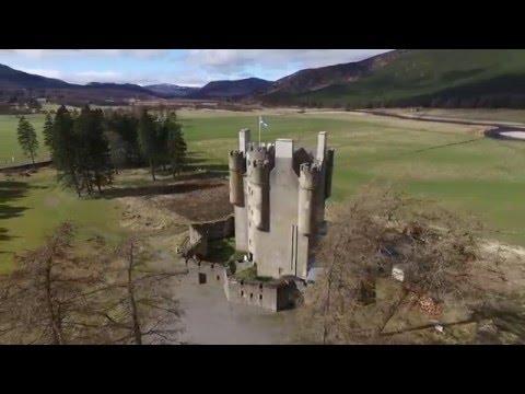 Aerial view around Braemar Castle in the Cairngorms, Royal Deeside, Scotland
