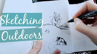 SKETCHING OUTDOORS - INK DRAWING ENGLISH COUNTRYSIDE