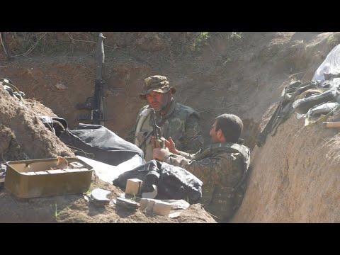 Бои в Карабахе: съемки из окопов блогера КУ