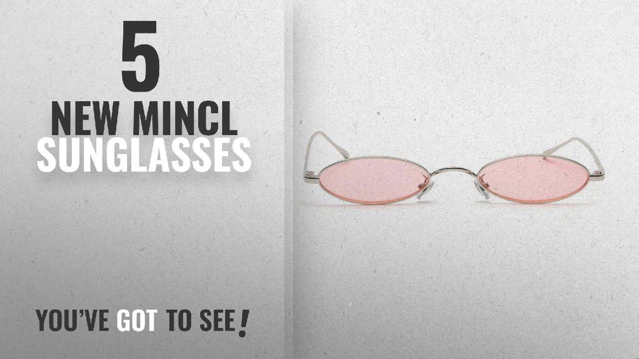 584e80b529 Top 10 Mincl Sunglasses   Winter 2018    MINCL Fashion Small Oval Metal  Frame Chic Clear Candy Color