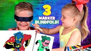 Blindfolded 3 Marker Challenge!!! Incredibles 2, Spider-Man & Ben 10 Edition!