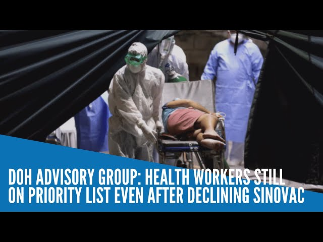 Health workers still on priority list even after declining Sinovac — DOH advisory group