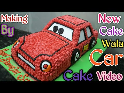 How To Make Car Cake Red Colour Fancy Decorations Making By New Cake