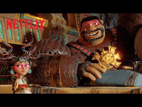 El rey y la reina teca conocen a los tres guerreros | Maya y los tres | Netflix