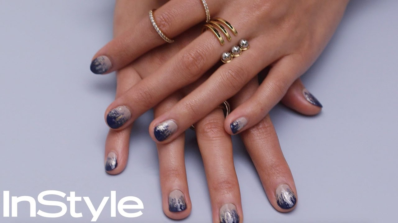 DIY Navy and Gold Ombre Nails | InStyle - YouTube