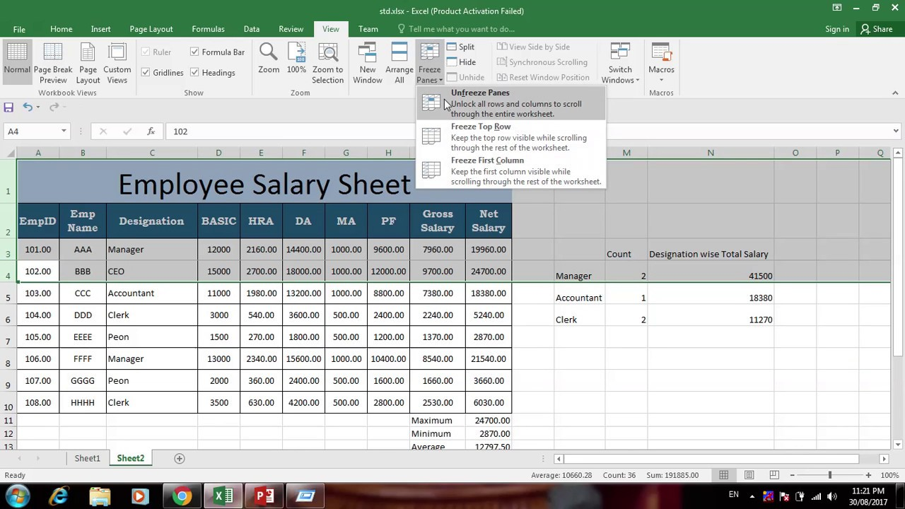 employee salary sheet using countif and sumif function in