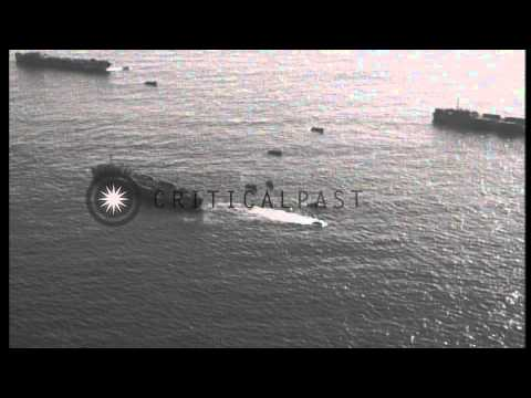 US task force ships and naval bombers head for Guam, Mariana Islands during its i...HD Stock Footage