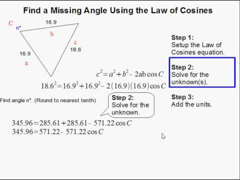 How To Find The Missing Angle Using Law Of Cosines Youtube