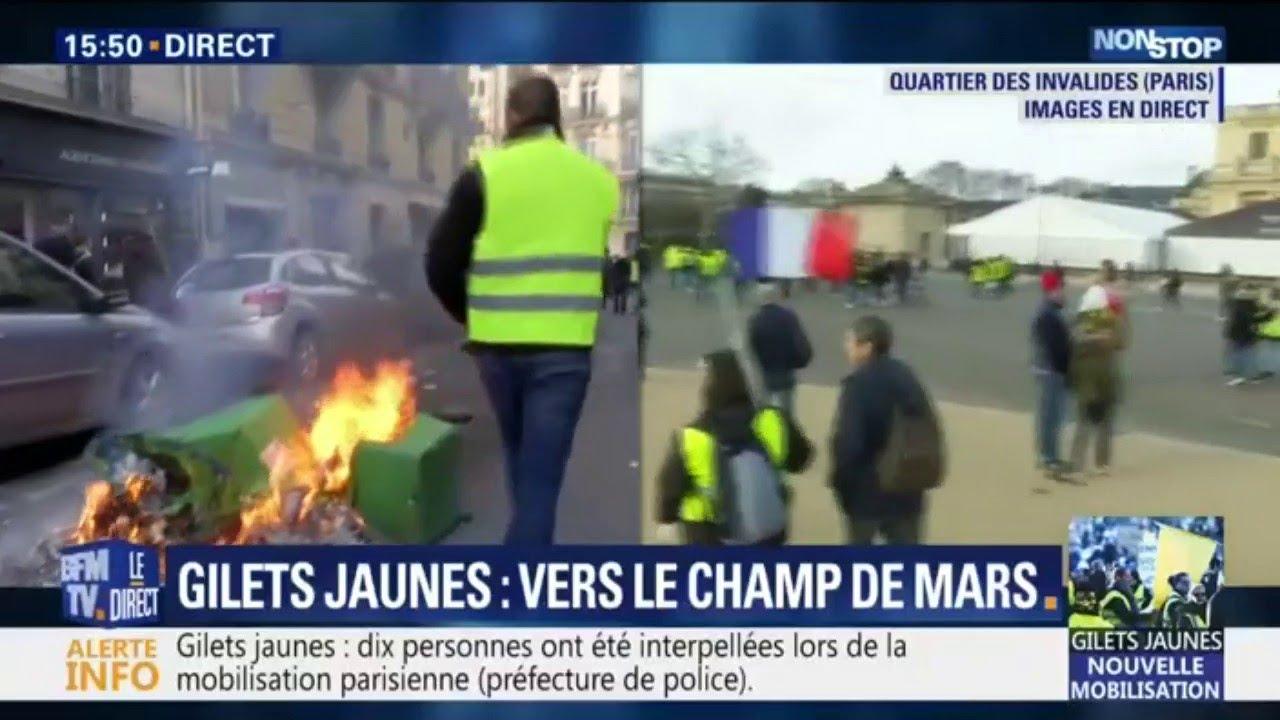 Gilets jaunes: des poubelles et des deux roues incendiés rue de Vaugirard à Paris