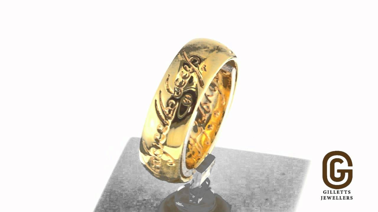 official lord of the rings 18kt wedding ring youtube - Lord Of The Rings Wedding Rings