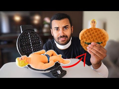 EXPERIMENT WAFFLE IRON VS STRETCH ARMSTRONG *HE CAME OUT DISGUSTING* 😖😂
