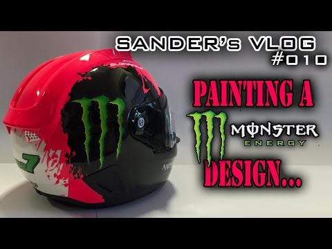 Painting a Monster Energy design on a helmet - Sander's vlog 010