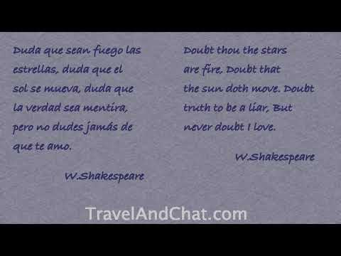 W Shakespeare Quote In Spanish Doubt Thou The Stars Are Fire Doubt That The Sun Doth Move Youtube