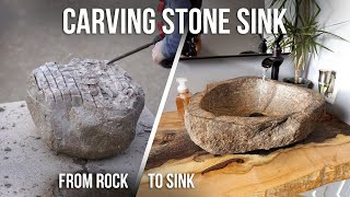 Making a stone sink from a field rock