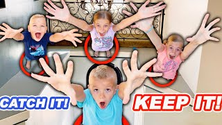 If You CATCH It You KEEP It! Fun Toys Challenge With Tannerites Kids and Opening Presents!