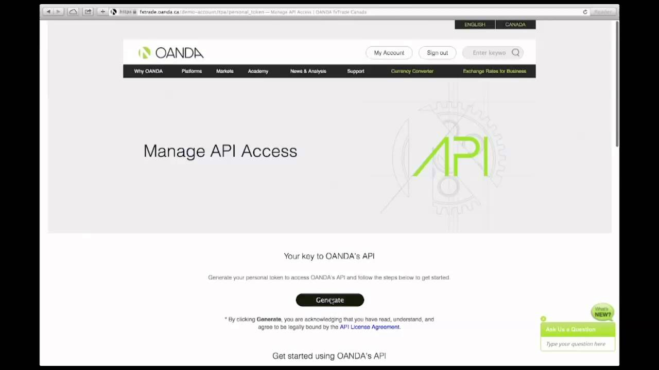 OANDA | OANDA API Generating Your Personal Access Token