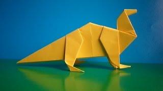 оригами травоядный динозавр, как сделать оригами динозавра // Origami herbivorous dinosaurs