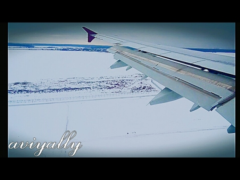 Qatar Airways landing in snow.Dme Moscow