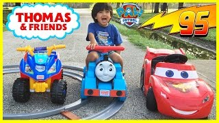 PLAYTIME AT THE PARK Disney Cars Lightning McQueen Paw Patrol Thomas Power Wheels Egg Surprise Toys