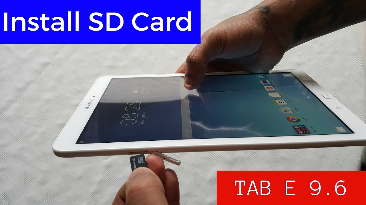 b084e789516 Samsung Galaxy Tab E 9.6 How To Insert Micro Sd Card - YouTube