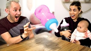 Giant Baby Bottle Flip Challenge!