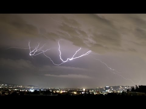 Time-lapse of electrical storm over Athens Sept - 21st 2016 4K