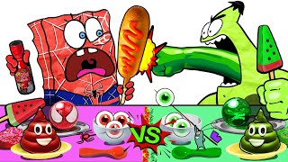 RED FOOD vs GREEN FOOD CHALLENGE SPONGEBOB MUKBANG  MUKBANG ANIMATION  SLIME CAT