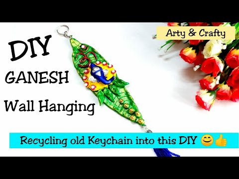 Ganpati Wall Decor Craft   Recycling Old KEYCHAIN   DIY   Best Out Of Waste   Ganesh Mural Painting