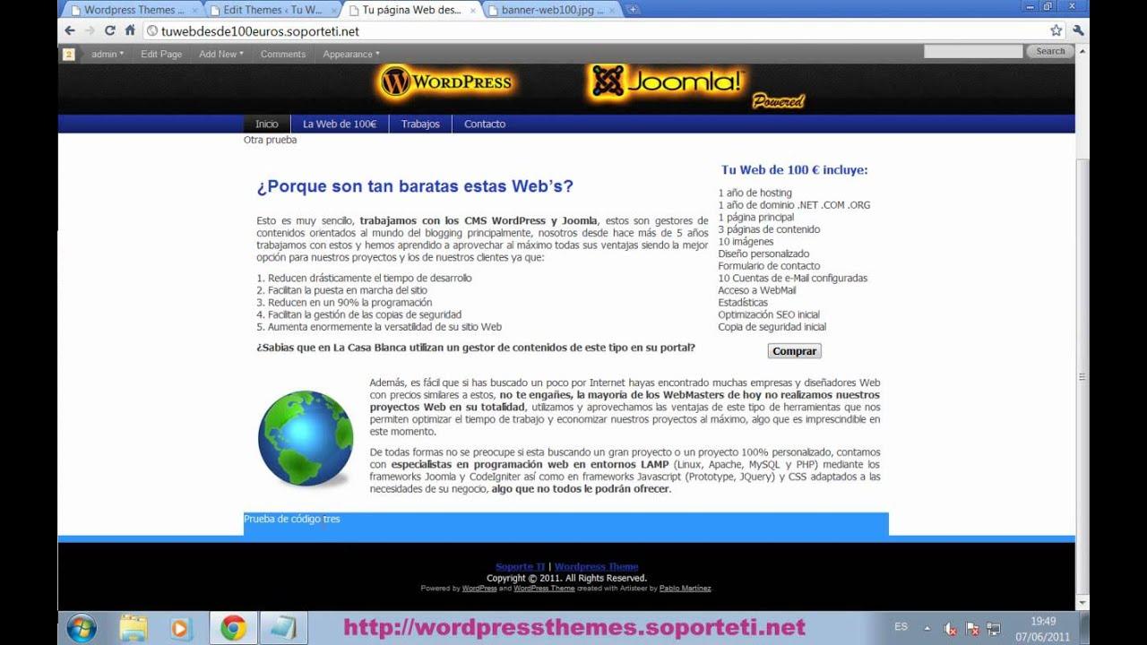 Wordpress - Insertar codigo en las plantillas de Wordpress - YouTube