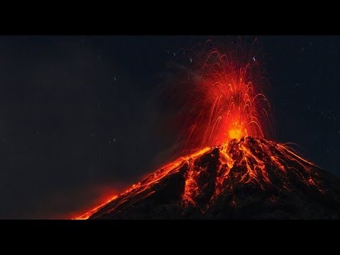 [10 Hours] Erupting Volcano at Night REAL TIME - Video & Audio [1080HD] SlowTV