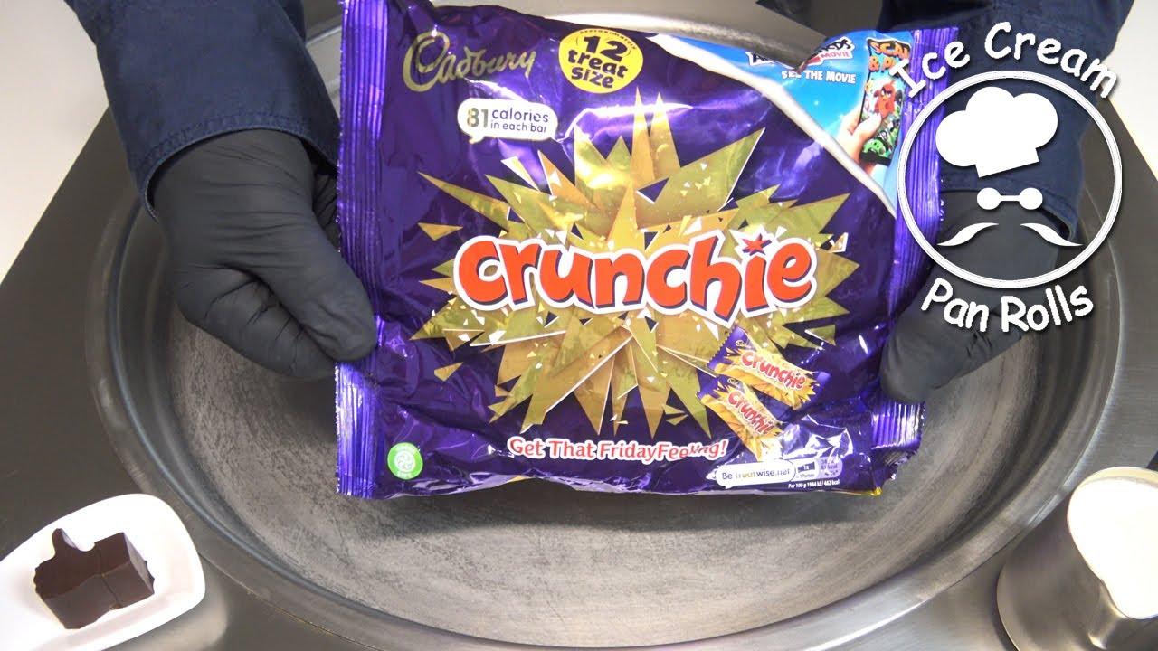 Cadbury Crunchie Ice Cream Rolls | how to make cadbury ice cream | no talking | food asmr
