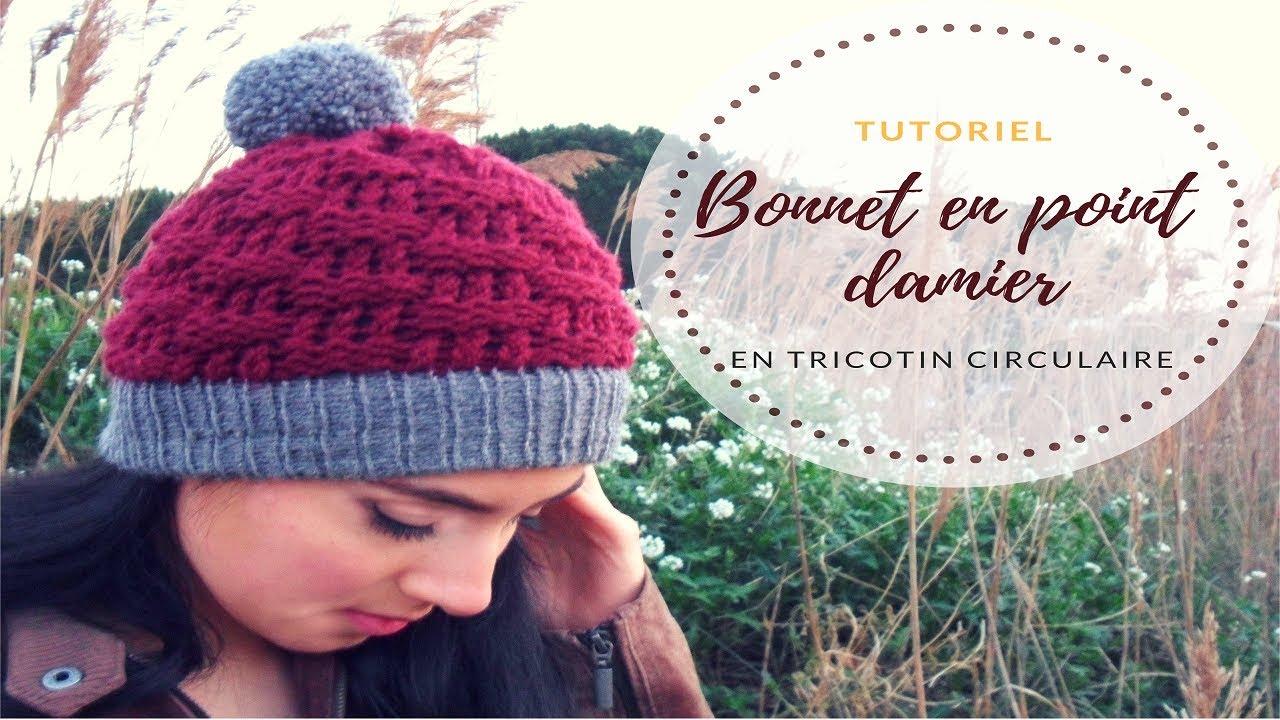 tricoter un bonnet en damier