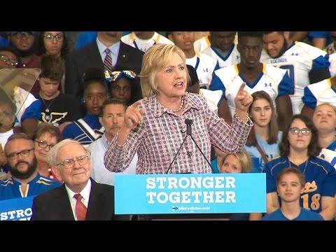Hillary Clinton and Warren Buffett campaign in Omaha