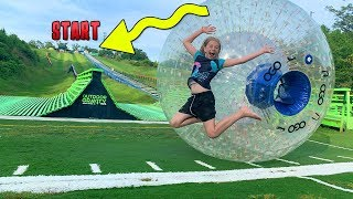 Race Down Hill in GIANT Water Ball at Outdoor Gravity Park!!