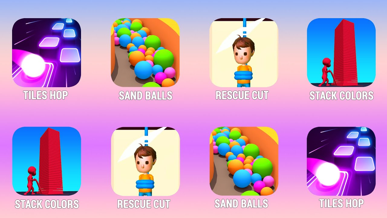 TILES HOP EDM, Sand Balls, Rescue Cut, Stack Colors Walkthrough (iOs, Android) | Power of Gameplay