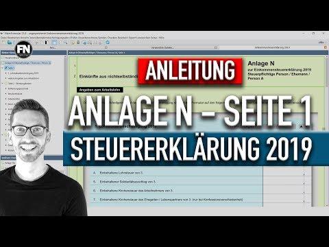 Anlage N Steuererklarung 2019 Ausfullen Steuererklarung 2019 Selber Machen Elster Tutorial 2020 Youtube