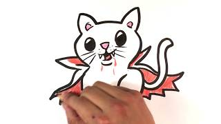 How to Draw a Kitty - Dracula Version - Halloween Drawings