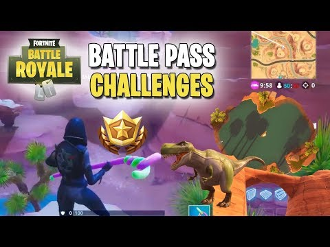 Fortnite | Battle Pass Challenges | Week #2 | Search Between An Oasis, Rock Archway, And Dinosaurs!