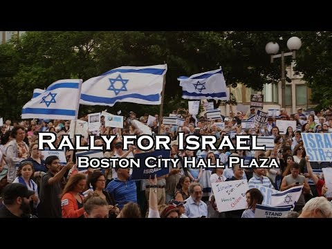 Thousands Attend Rally for Israel at Boston City Hall Plaza