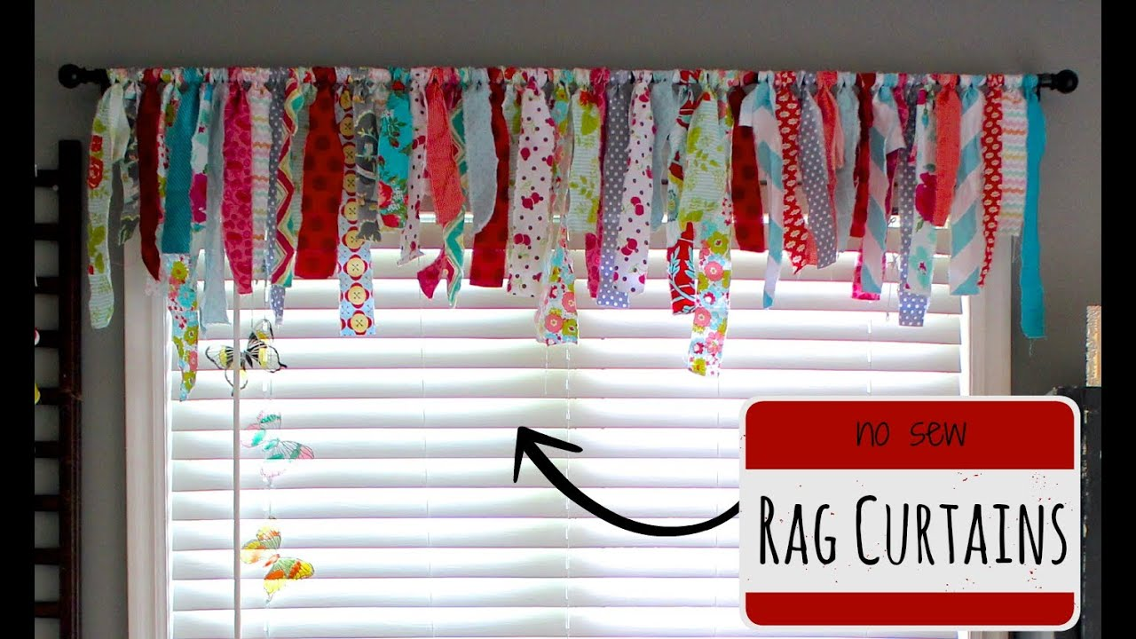 No sew rag curtains doovi How to make a valance without sewing
