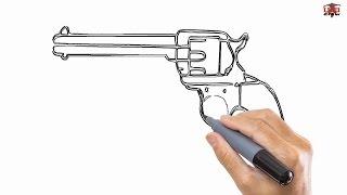 gun drawing pistol cool draw easy step drawn shotgun tutorials getdrawings