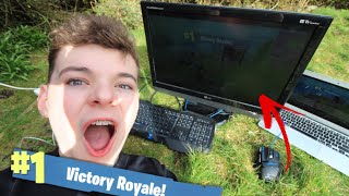WINNING A GAME OF FORTNITE IN MY GARDEN! (it actually works)