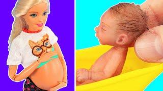 14 Лайфхаков для Барби! Миниатюрные Настоящие Чипсы, тушь, беременная кукла барби / Видео