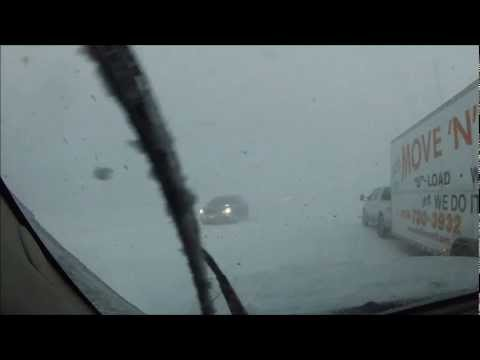Crazy Lake Effect Snow Squall (White Out)