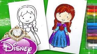 Рисуем АННУ Холодное сердце / Принцесса Диснея