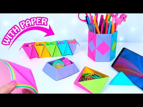 5 DIY DESK ORGANIZATION WITH PAPER - Amazing paper crafts!