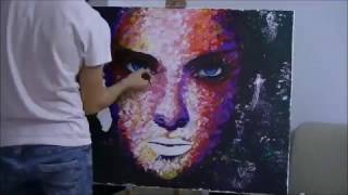 Abstract portrait painting - time lapse (First time knife painting)