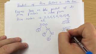 Product of Prime factors in Index Form